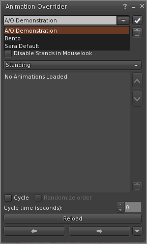 Firestorm Animation Override Set Drop-down menu