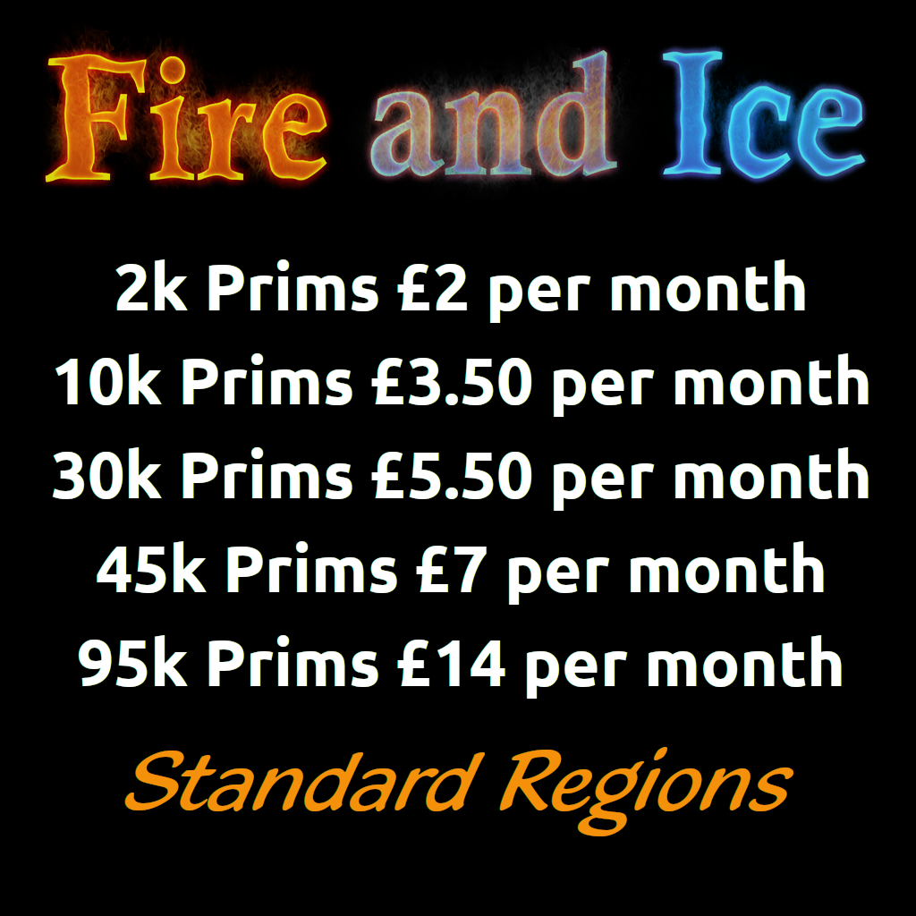 Standard Region Prices - Fire And Ice Opensim Grid