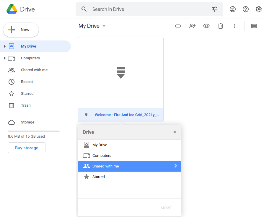 Google Drive - Navigate to Shared With Me