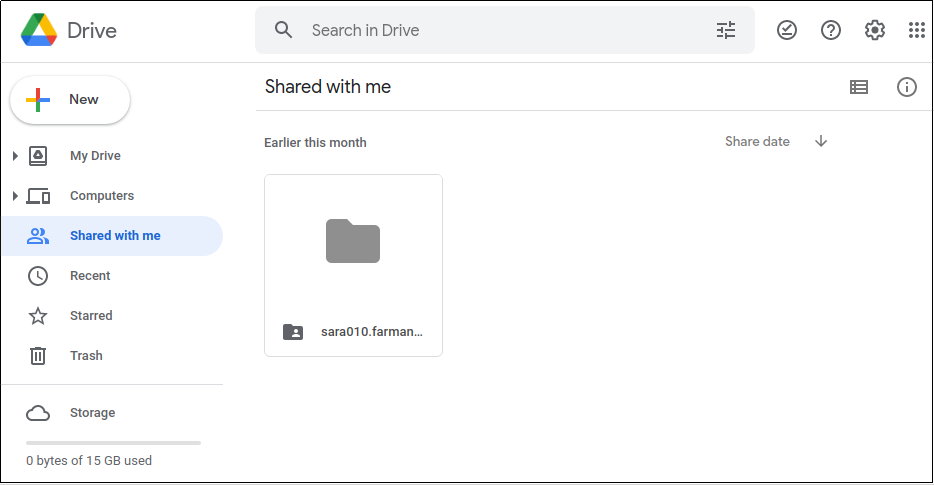 Google Drive Personal Account - Shared With Me