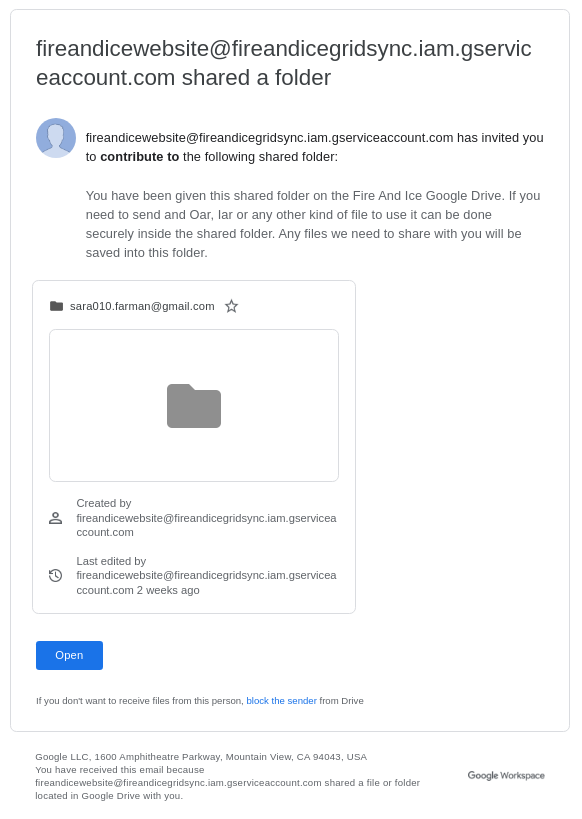 Google Drive Shared Folder Email