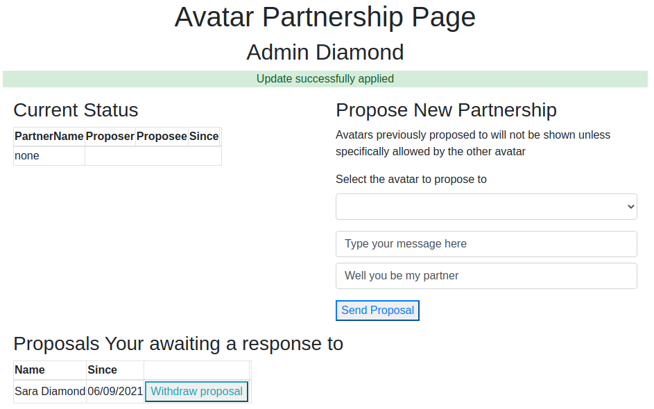 Proposal made, unanswered view for proposer - Website Partnership Available at Fire And Ice